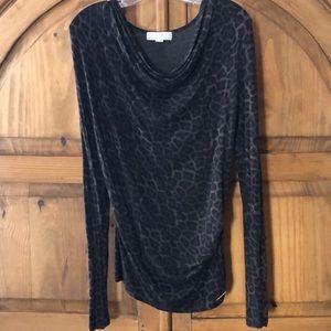 Michael Kors Black/Grey Leopard Print Tunic Top